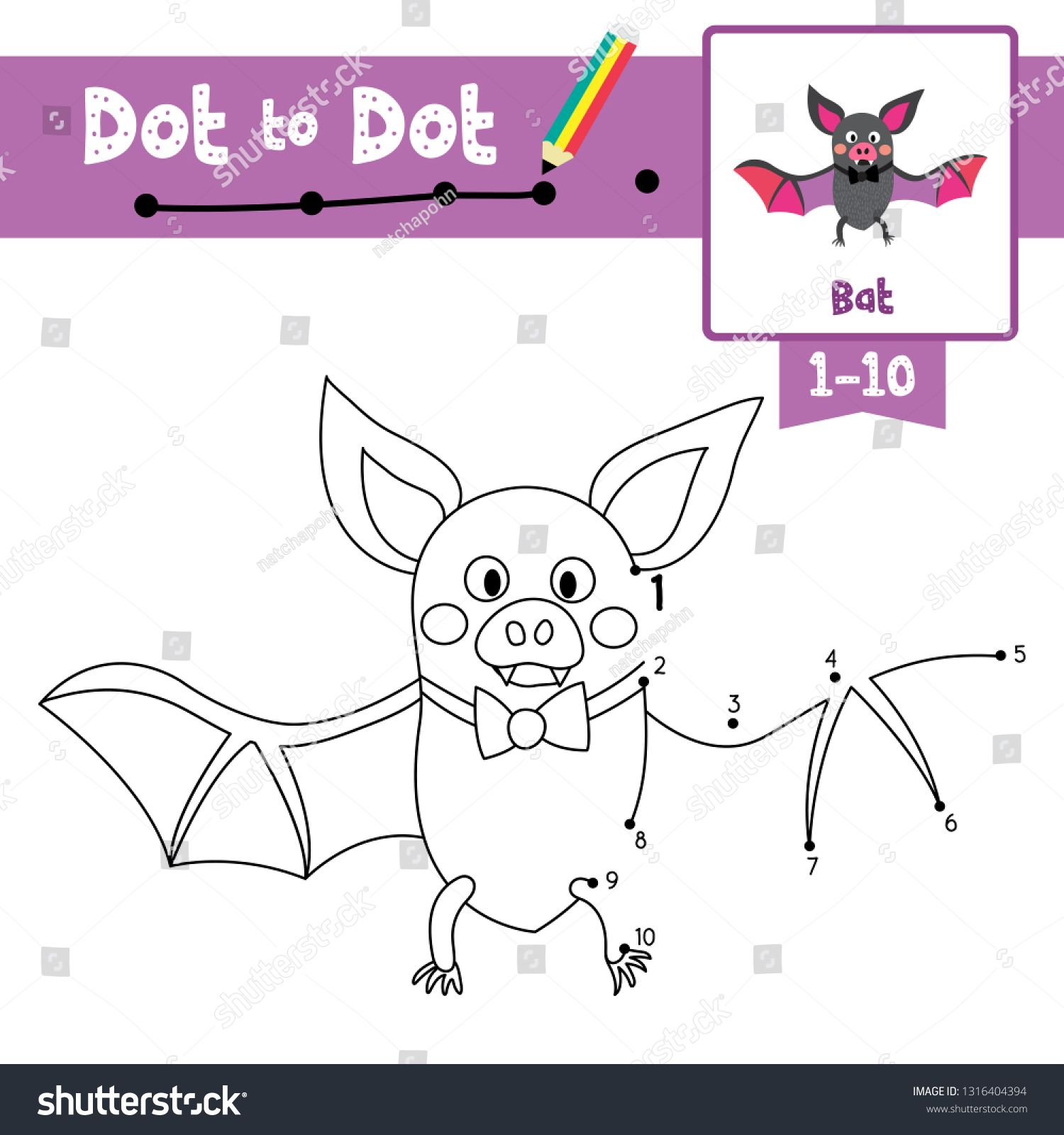 Dot To Dot Educational Game And Coloring Book Of Bat With
