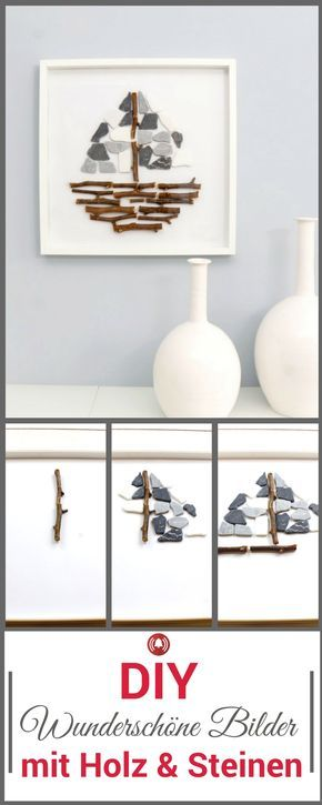 Ikea Hack Ribba Bilderrahmen Mit Holz Und Steinen Holzarbeiten