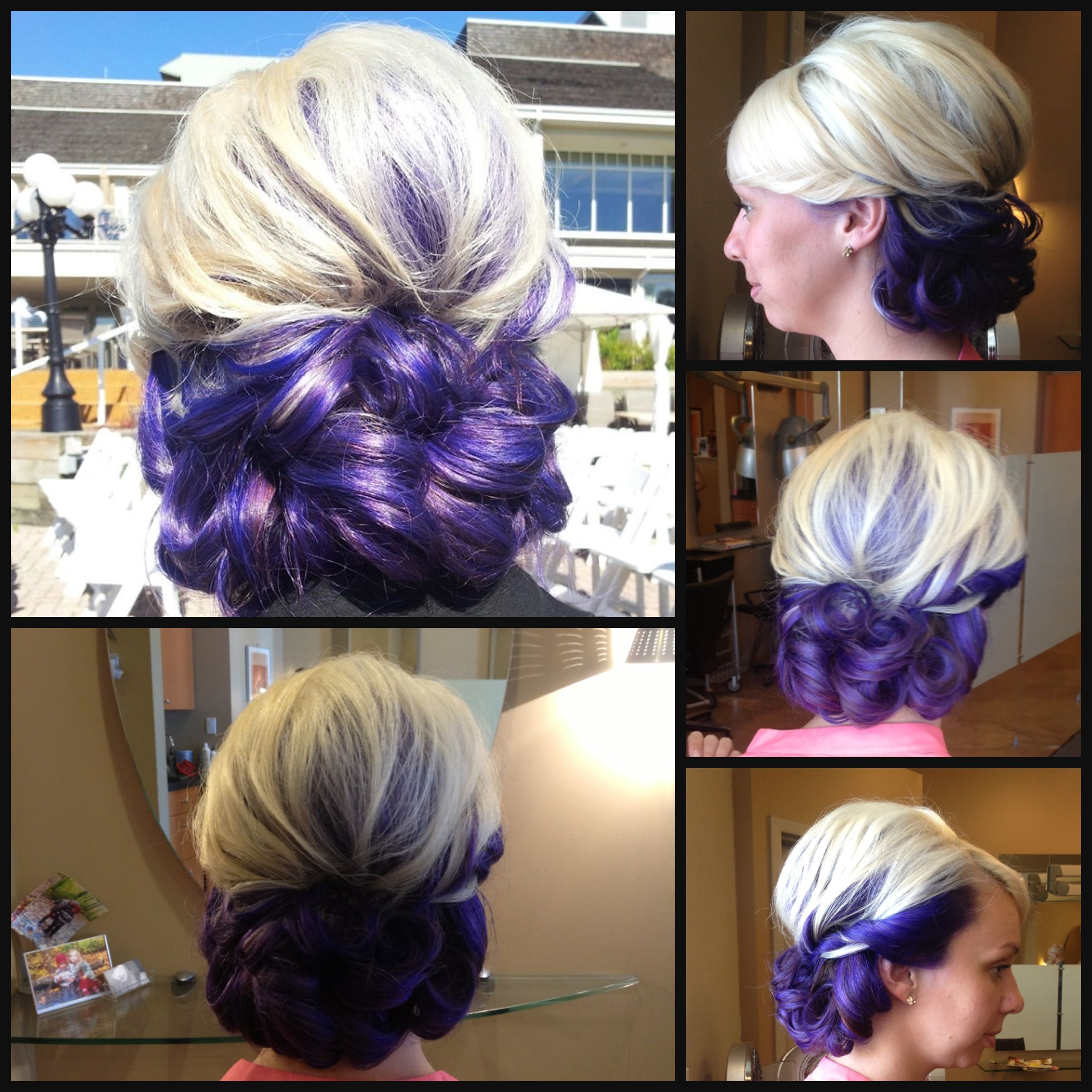 formal updo purple and blonde