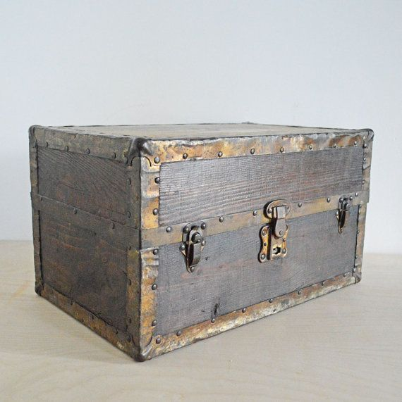 Vintage Wood Storage Box Toy Chest Wooden Case Trunk By Mothrasue