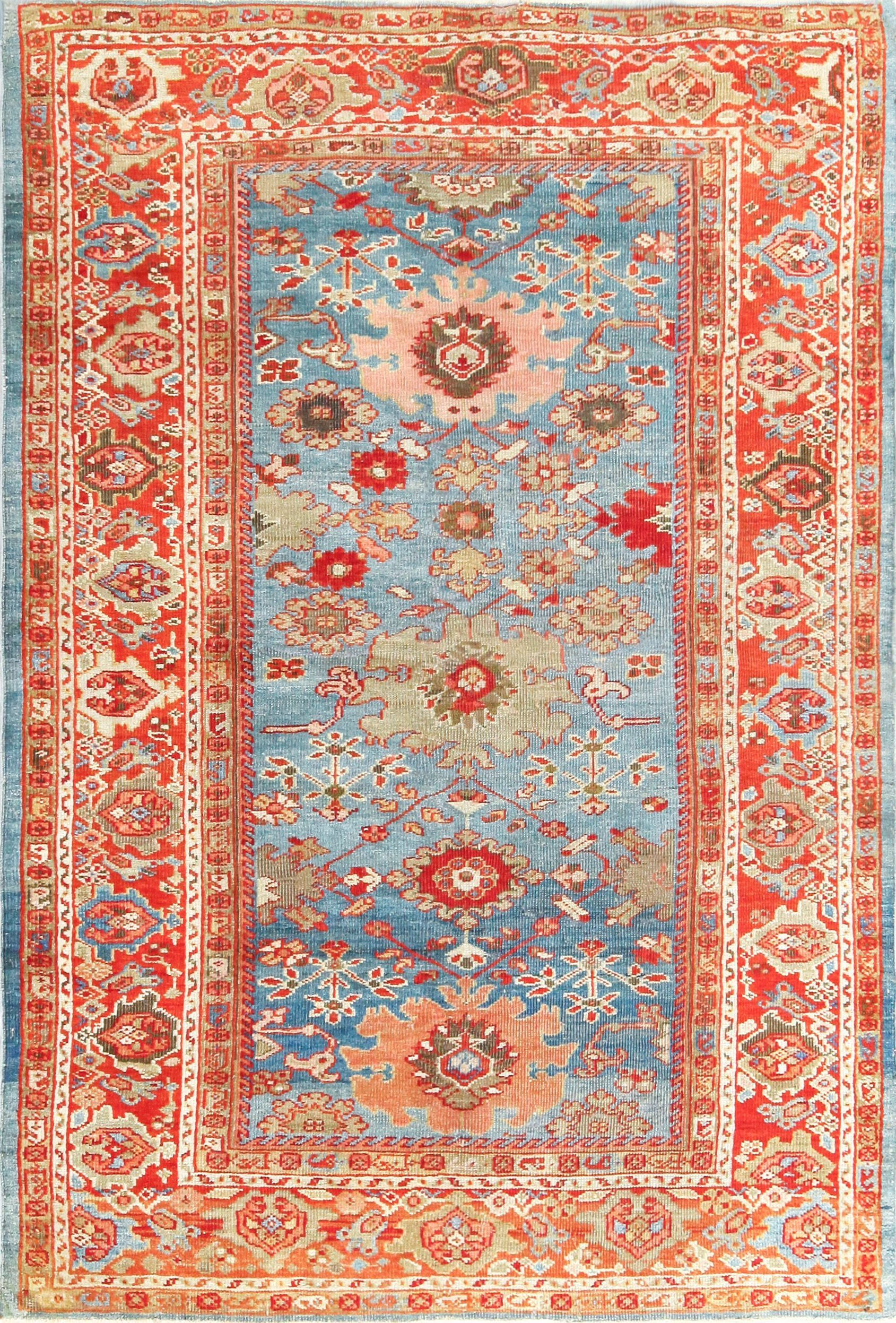 Beautiful Antique Blue Background Persian Sultanabad Rug 49209 Sultanabad Rug Antique Persian Rug Antiques