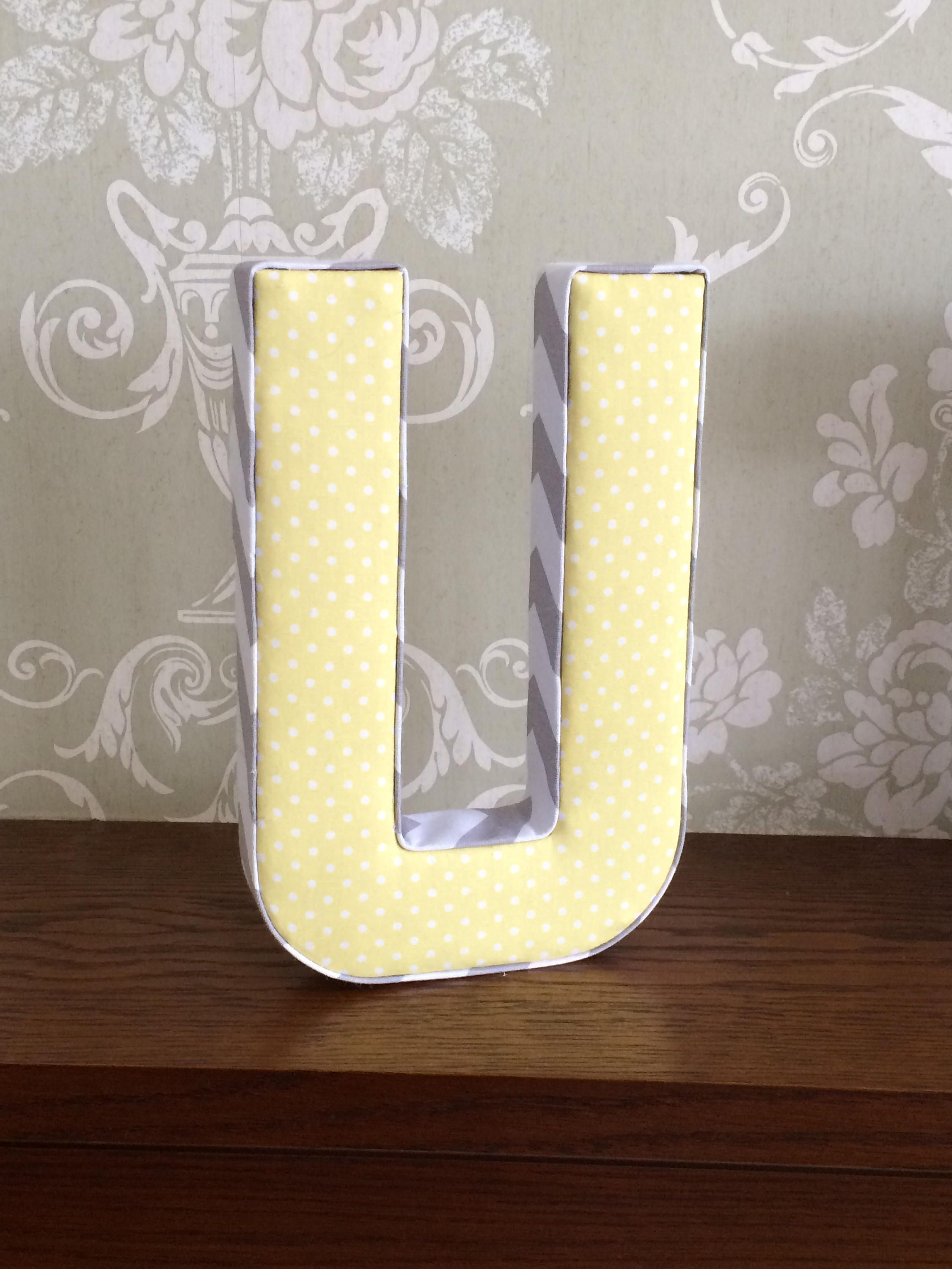 Pale yellow, lemon neutral nursery decor, fabric letters, nursery ...
