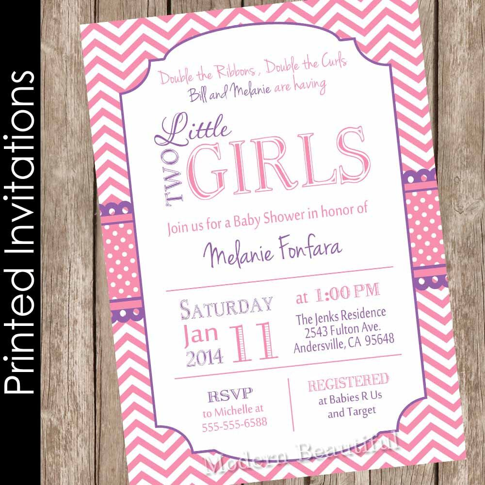 Printed Twin Girls Baby Shower Invitation, Pink and Purple, Chevron ...