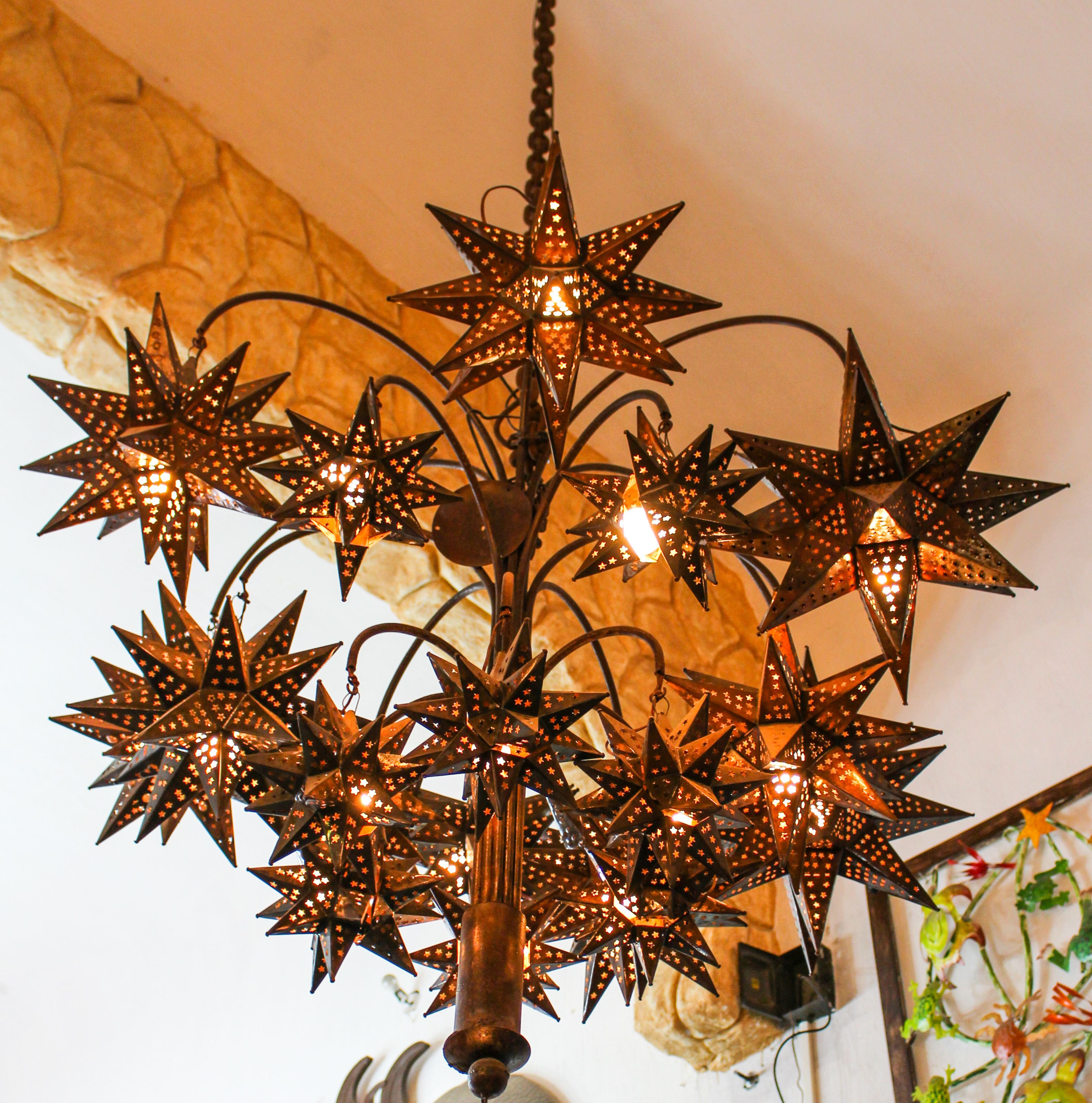 of lighting party glass shop pin el chandelier and callejon evolution as string decor moravian more one illuminate for lights at handmade tin our a light home pinterest stars hometown star use art or