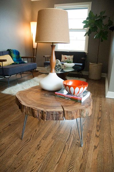 natural live edge round slab side table / night stand with hairpin