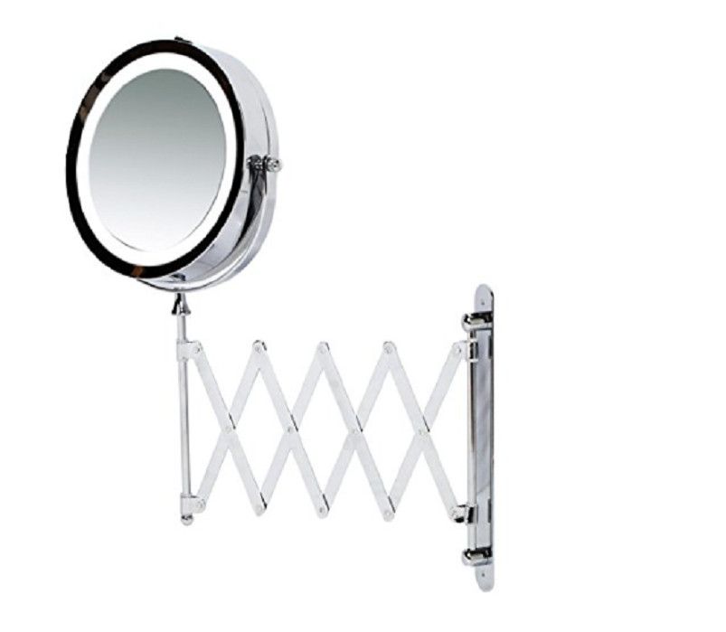 Kenley wall mounted magnifying makeup mirror with led light kenley wall mounted magnifying makeup mirror with led light extending vanity shaving lighted 7 aloadofball Image collections