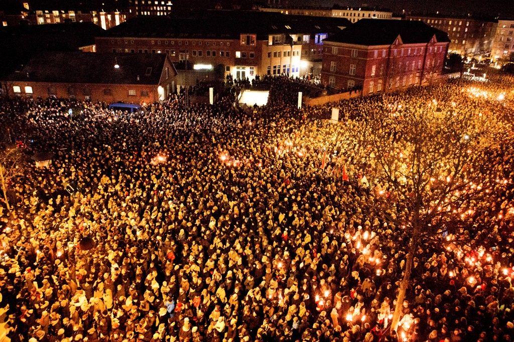 The crowds at Gunnar Nu Hansens Plads, Copenhagen.