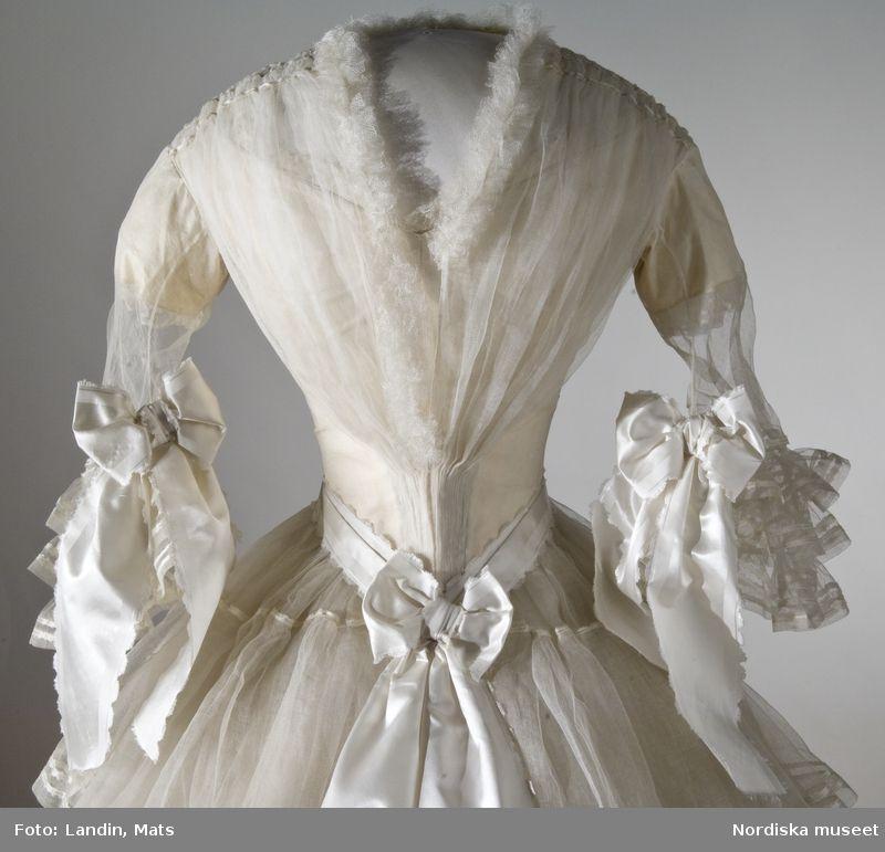 Front View - Bodice. Wedding dress worn August 19, 1854 by Svea Beata Myhrman. Nordic Museum inv No 192,688th