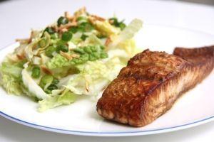 Salmon Teriyaki & Wombok Salad #salmonteriyaki Salmon Teriyaki & Wombok Salad #salmonteriyaki