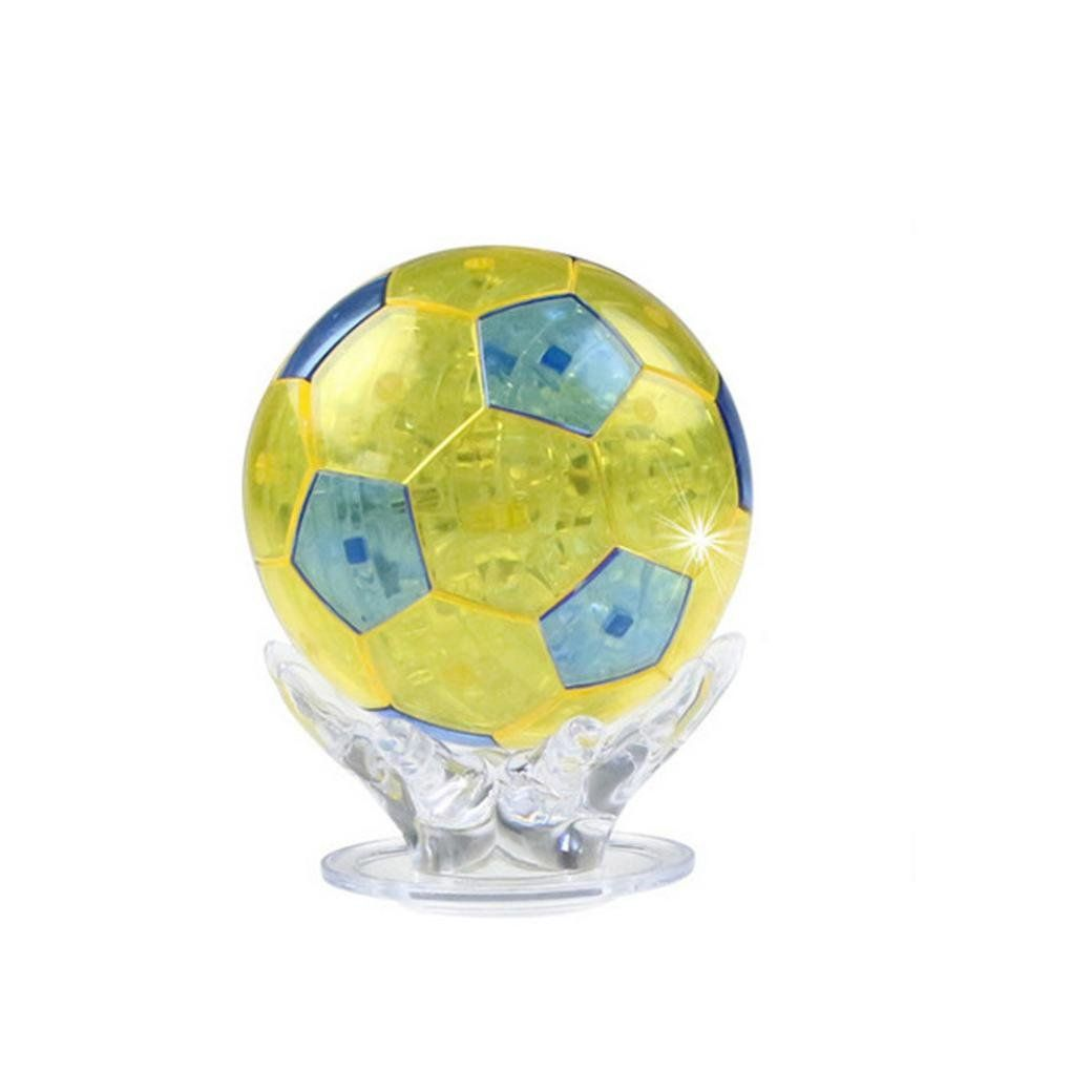 Tiean 3d Crystal Puzzle Football Model Diy Gadget Blocks Building Toy Yellow You Can Find Out More Details At The Link O Toys Gift Diy Gadgets Football Diy