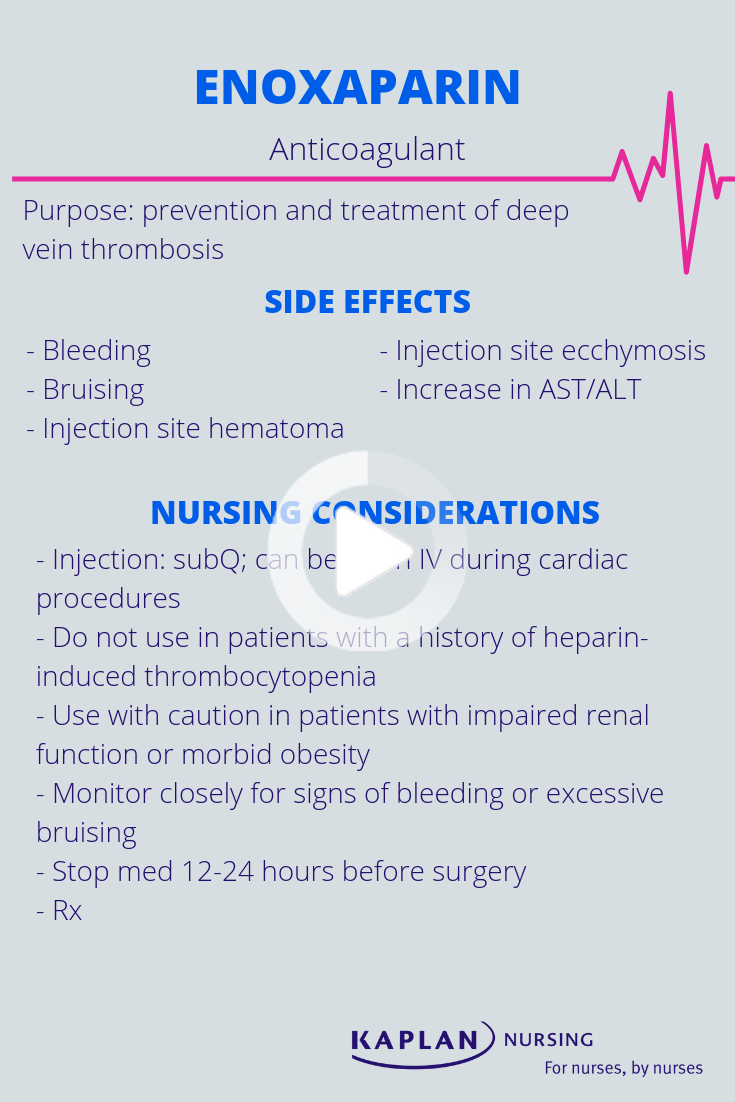 Read About The Side Effects And Nursing Considerations Of Enoxaparin To Prepare For The Nclex Have In 2020 Pharmacology Nursing Nclex Study Guide Nclex