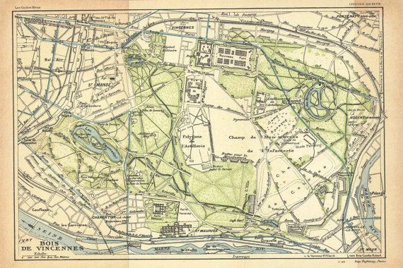 Bois De Vincennes Paris Vintage City Plan 1924 Park Forest City