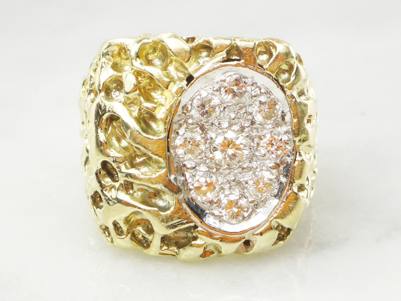 87eb58d1abeea Vintage 14k Gold Mens Diamond Ring Diamond Nugget Ring Heavy 14k ...
