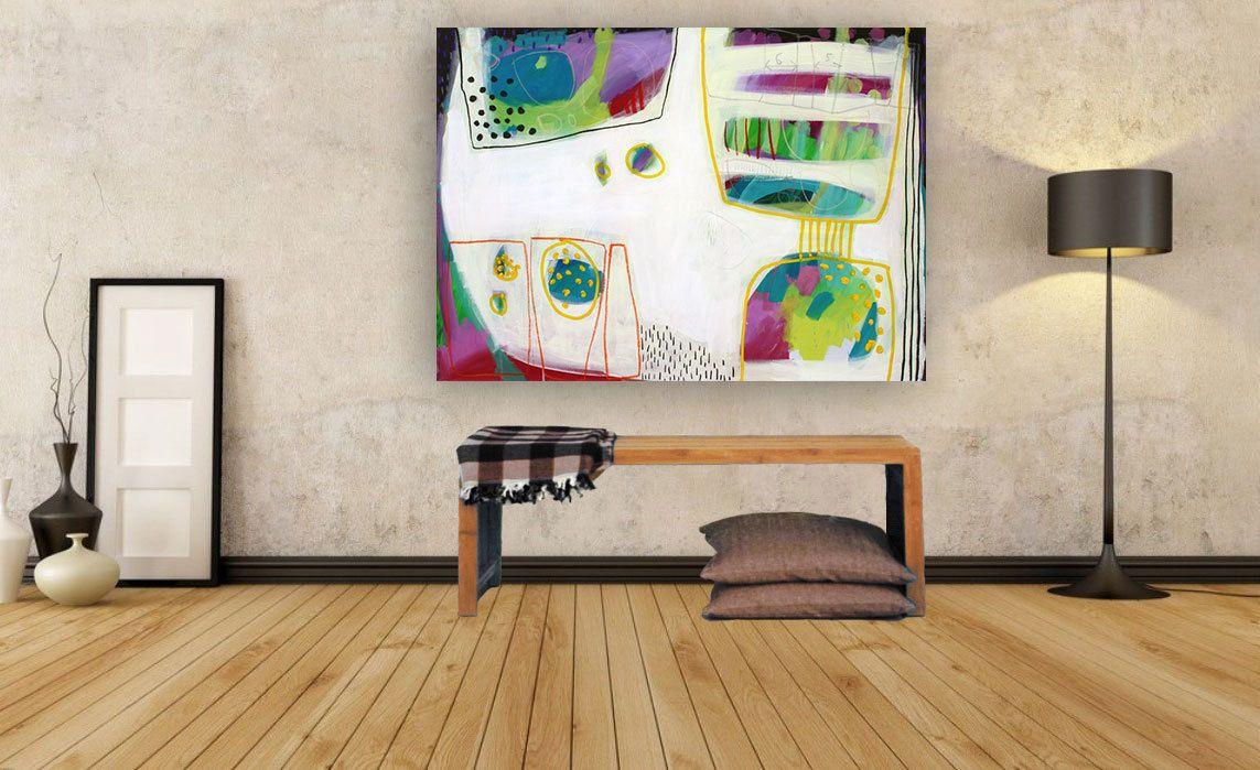 Original abstrakte zeitgenössische Malerei mit rosa und grün ...