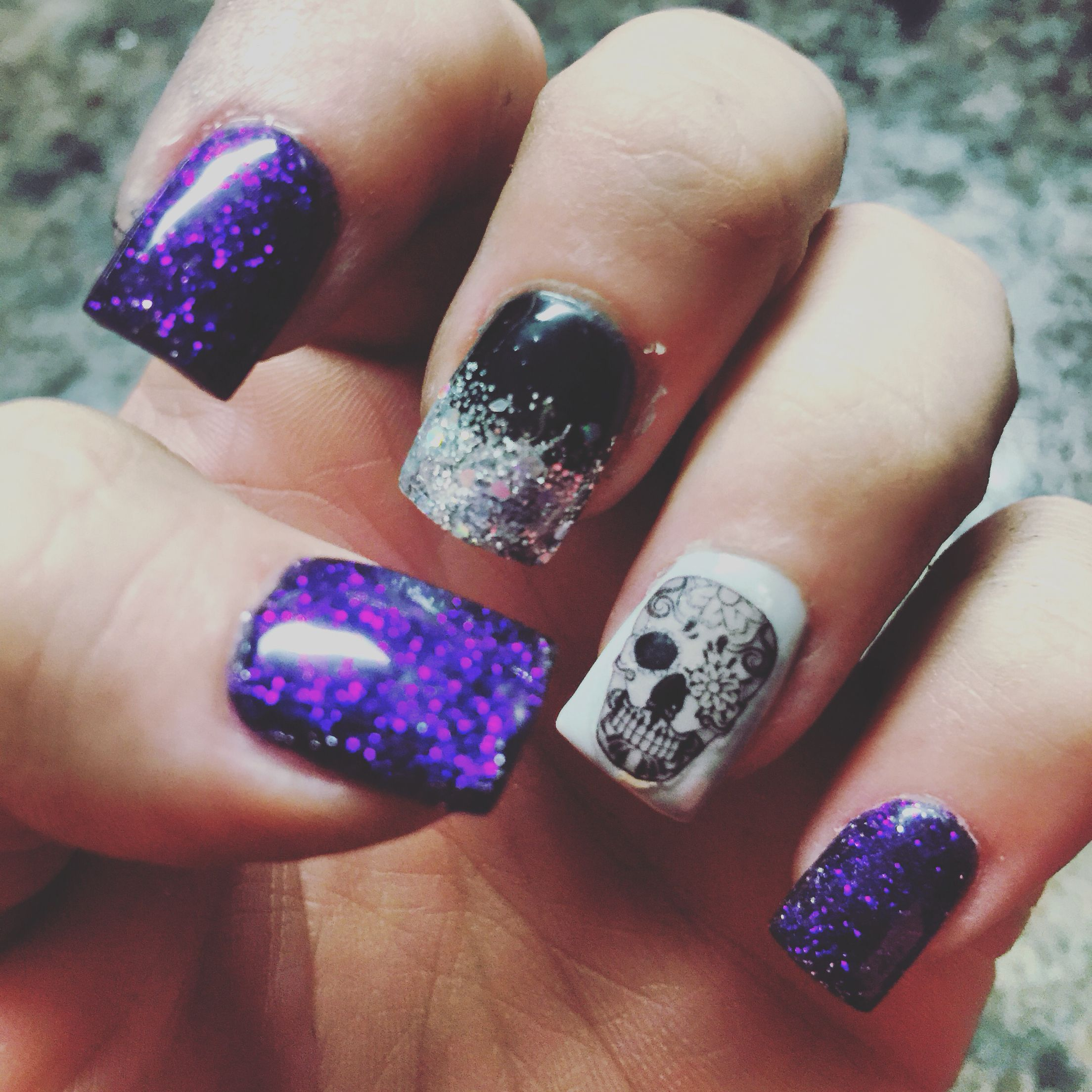My Halloween nails! Sugar skulls with purple glitter ...