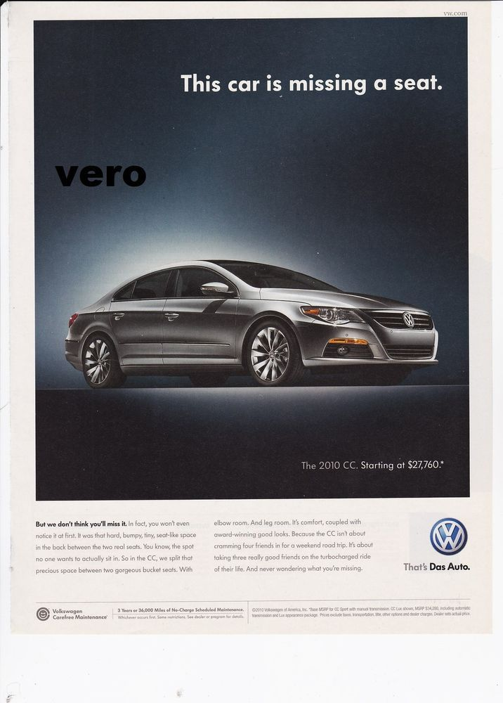 Vw 2010 Cc Das Auto Magazine Ad Print Clipping Car