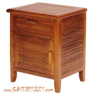 table de chevet coloniale bois et