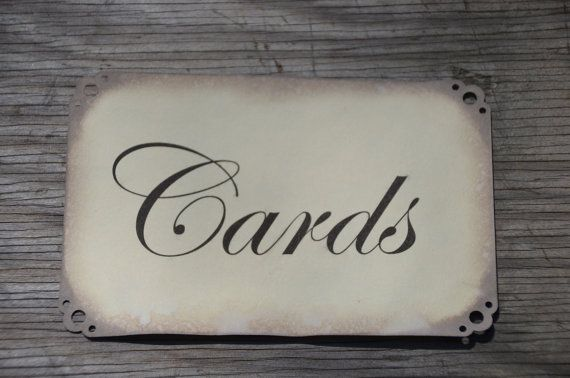 Antiqued Cards Sign for wedding card box / card sign birdcage ...