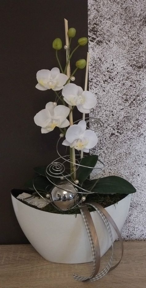Orchideengesteck gesteck in wei in m bel wohnen for Wohnen dekoration