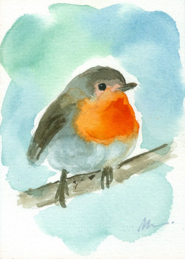 Robin Bird Mini Painting Original Aceo Bird Watercolor Animal