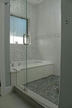 Unique Shower Tub Combo Pebble Tile Shower Tub Shower Combo Bathrooms Remodel
