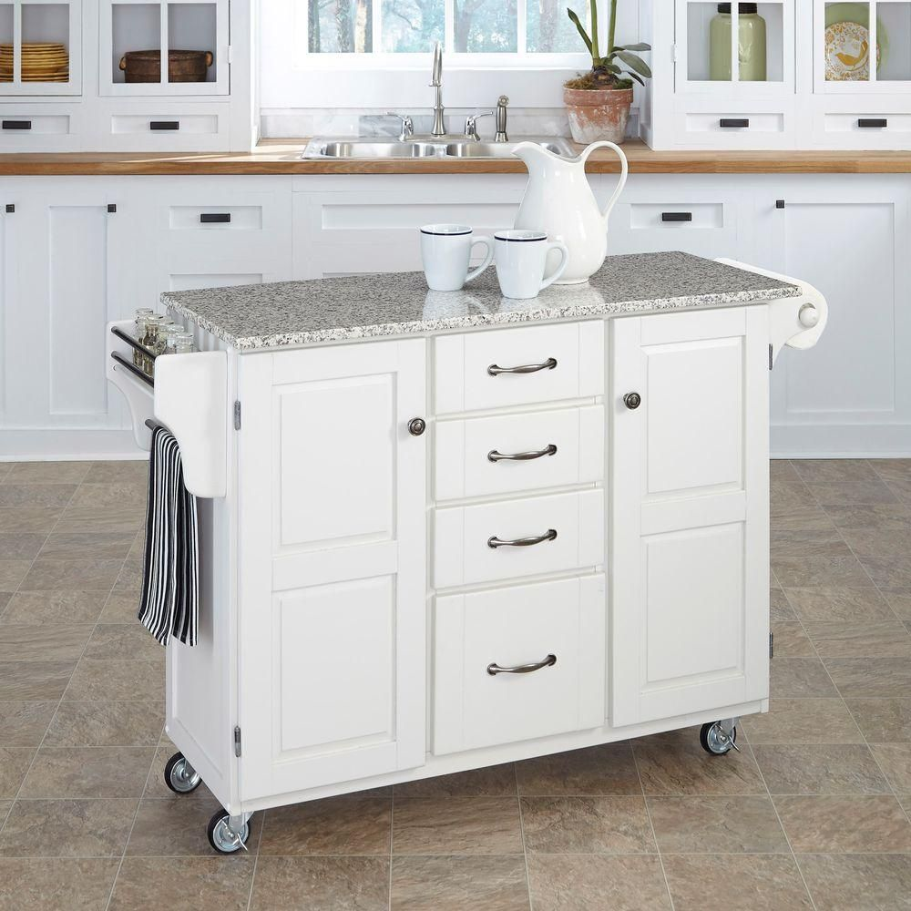 Homestyles Create A Cart White Kitchen Cart With Salt And Pepper Granite Top 9100 1023 The Home Depot White Kitchen Cart Portable Kitchen Island Kitchen Cart
