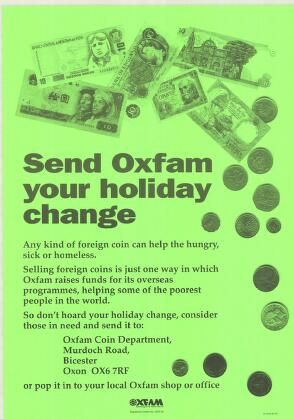 Poster Send Oxfam Your Holiday Change With Photograph Of