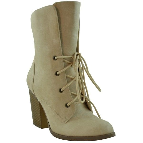 6082084a29f Womens Ankle Boots Chunky High Heel Lace up Comfort shoes Taupe SZ 6 (47 AUD