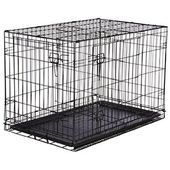 SENGUPETS Double Door Foldable Pet Cage Black With Tray Stee …