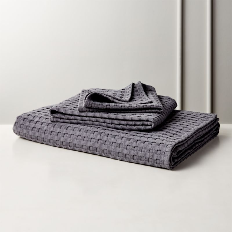 Shop Grand Grey Waffle Weave Bath Towels Raised Fluffy Mini