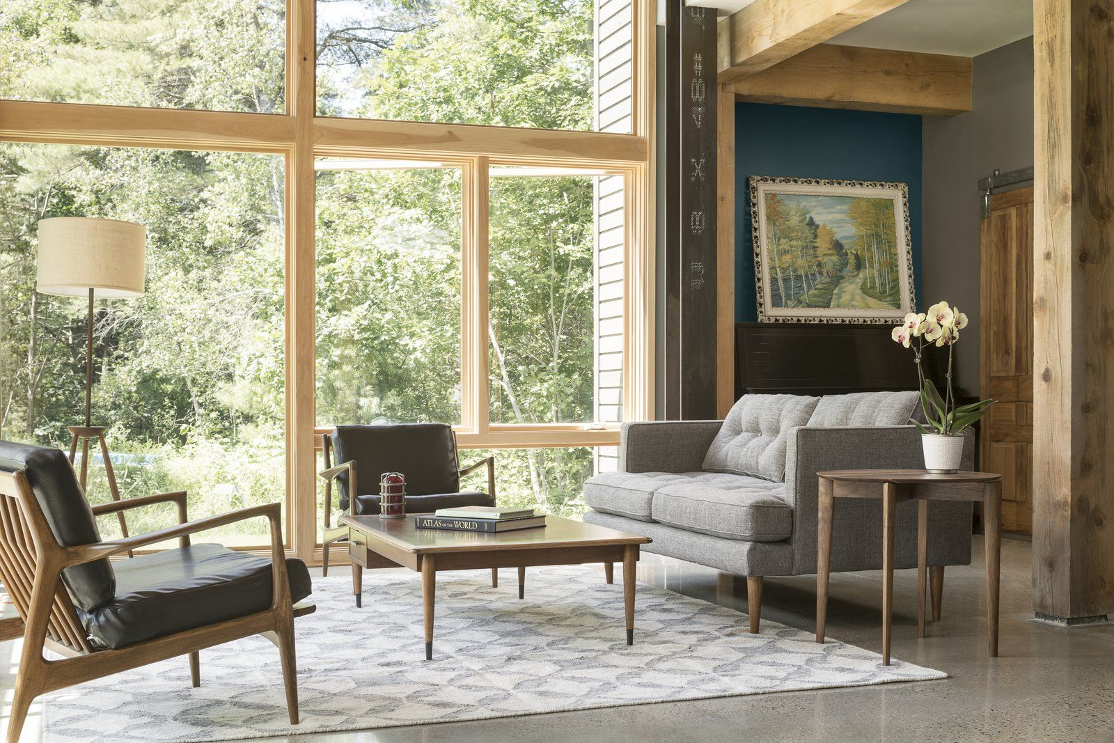 A Maine Farmhouse Built With Salvaged Materials Living Room Windows Home Living Room Modern