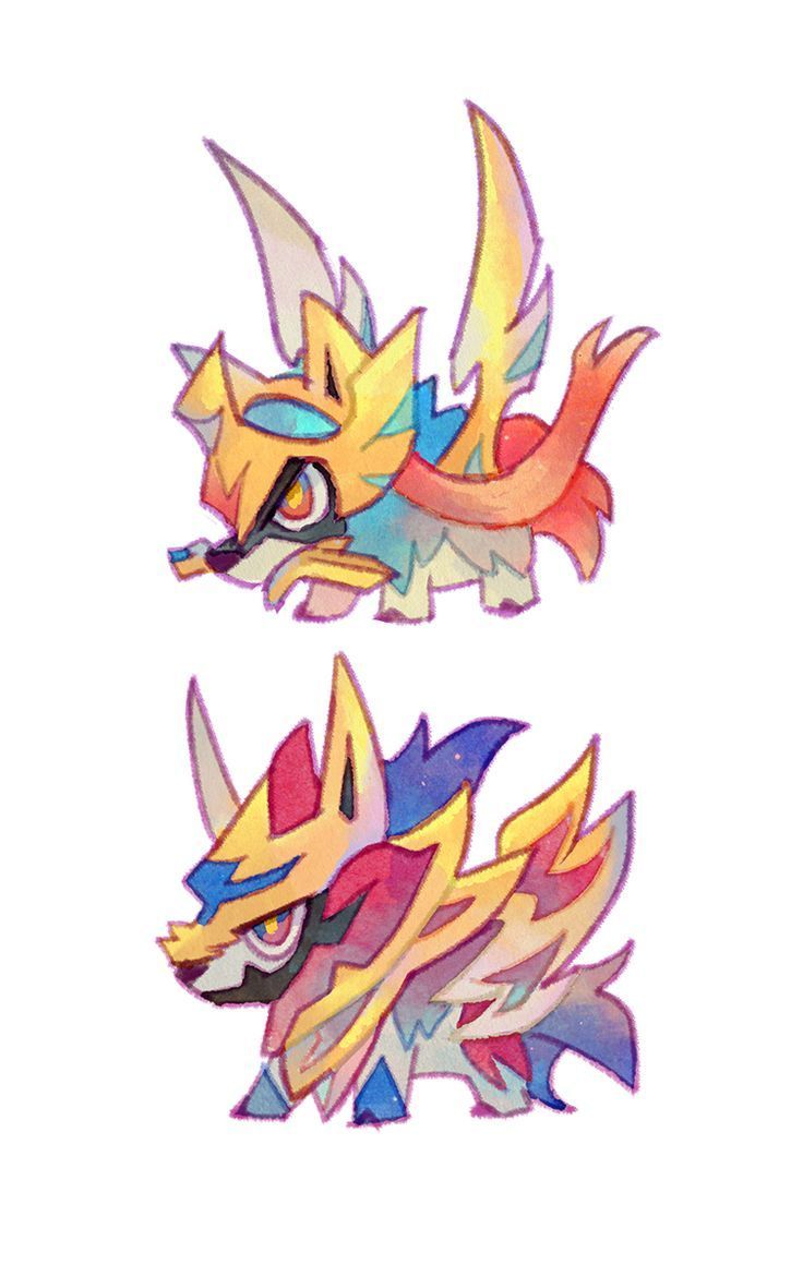 Chibi Zacian And Zamazenta Poke Ball Pokemon Cute Pokemon Pokemon Art