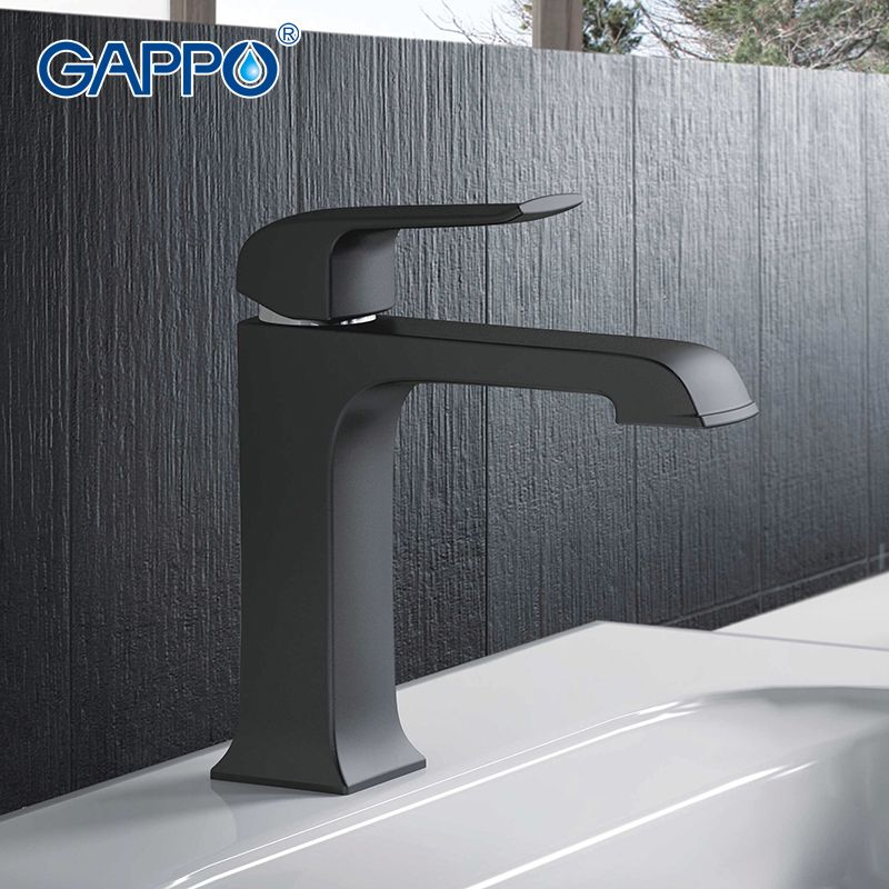 gappo top quality black bathroom faucet deck mounted basin sink faucet mixer waterfall torneira tap grifo