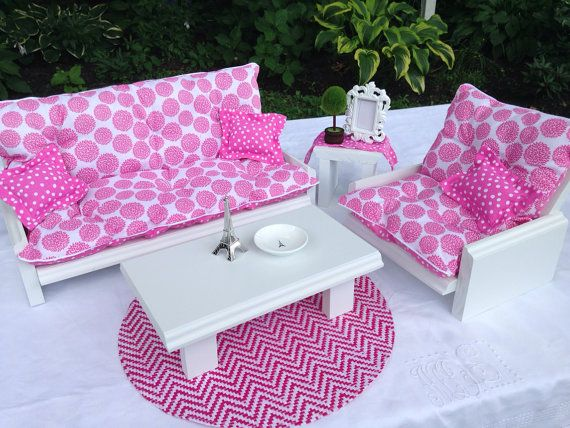 Pink Dot Pom Pom Full Sofa Chair and coffee by QueenEmmaDesigns | AG ...