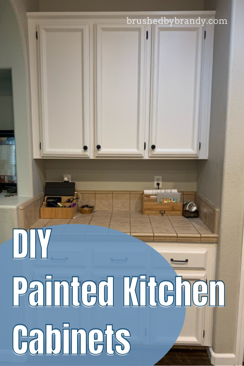 Diy Painted Kitchen Cabinet Makeover Learn How To Paint White With Brushed By Brandy In 2020 Diy Kitchen Cabinets Painting Kitchen Paint Kitchen Cabinets
