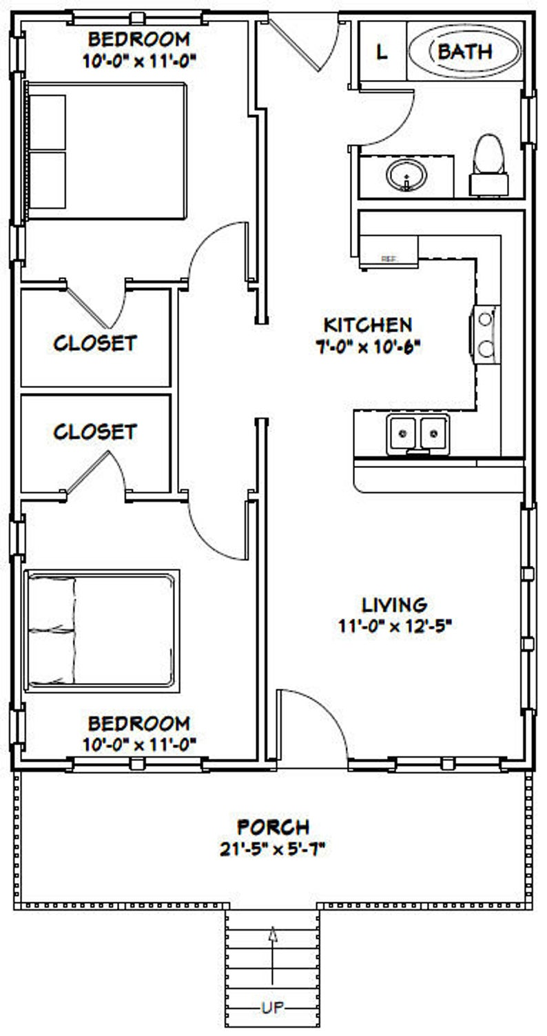 22x32 House 2 Bedroom 1 Bath 704 Sq Ft Pdf Floor Plan Instant Download Model 1c In 2021 Small House Floor Plans Narrow Lot House Plans Tiny House Floor Plans