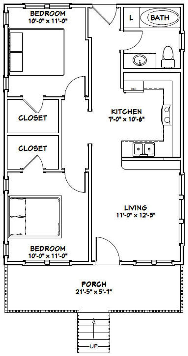 22x32 House 2 Bedroom 1 Bath 704 Sq Ft Pdf Floor Plan