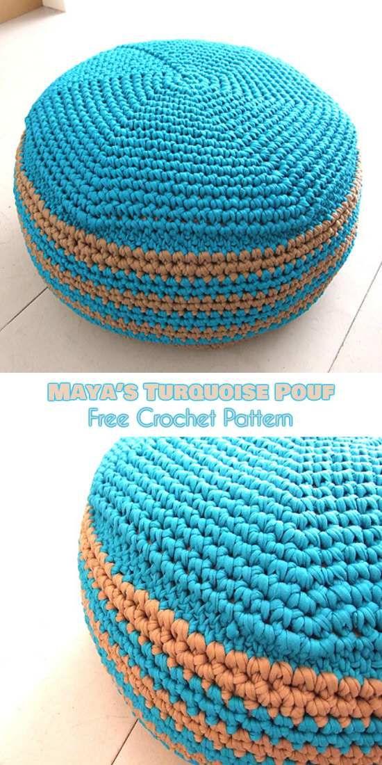 Maya\'s Turquoise Pouf [Free Crochet Pattern] | Manualidades en ...