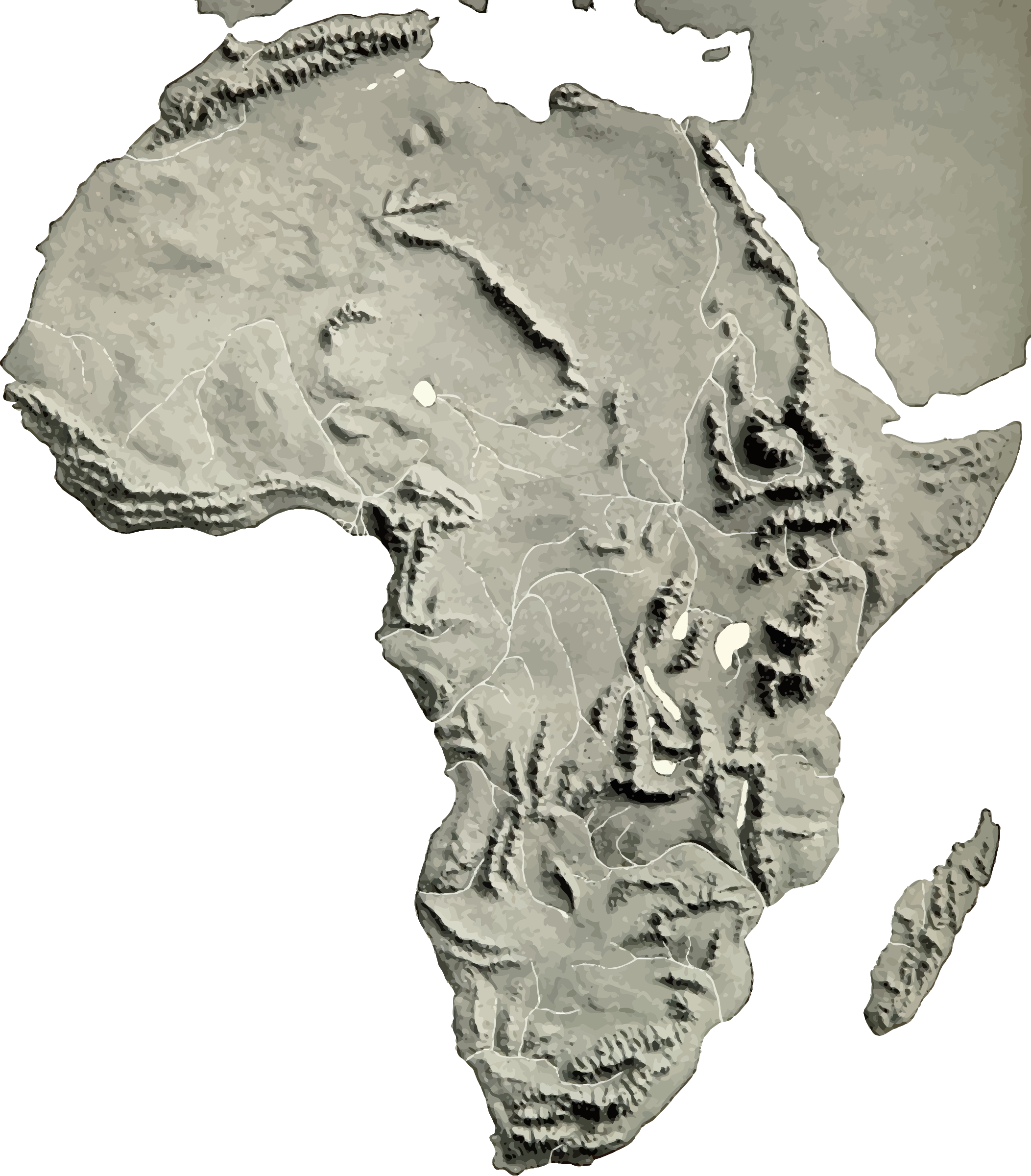 Africa relief map 2 by Firkin. Click on the image for a very large