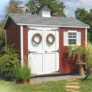 8 X 10 Workshop With Colonial Door Aluminum Trim Color Clay Floor Yes Vinyl Siding Color Heritage Grey 8 Garden Storage Shed Shed Storage Building A Shed