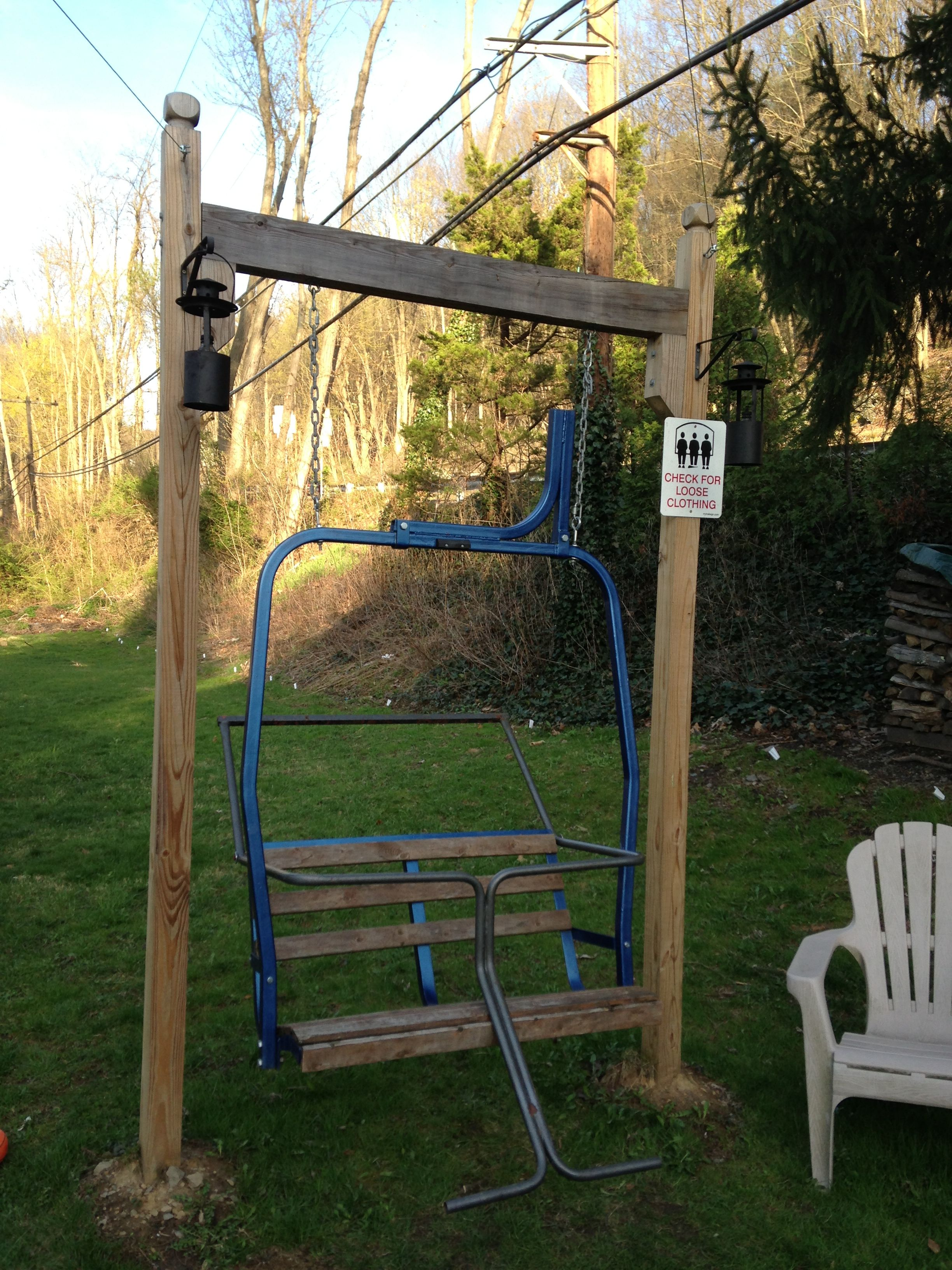 Ski lift chair swing using an old double chair frame from for How to build a swing chair