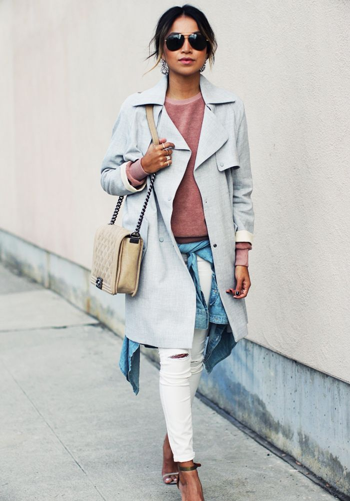 a61e981d218 Pastel pairings    Sky blue coat over a pink sweater and white jeans