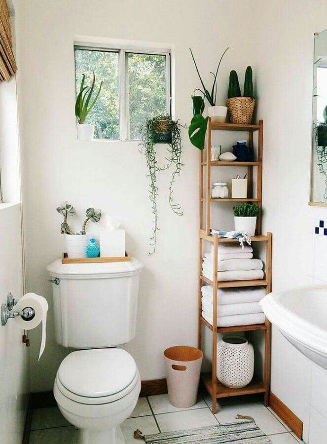Skinny Shelf Storage In A Small Bathroom With No Vanity