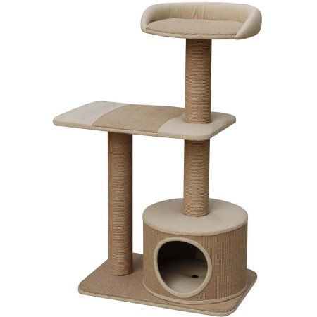 Petpals Group Pillar Paper and Jute 3 Levels Condo with Lookout, Beige