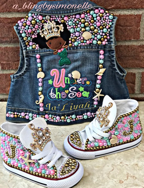 8a01563d2469 Under the Sea Mermaid Denim vest and matching sneakers