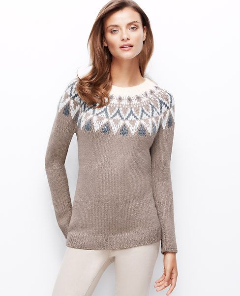 Fair Isle Tunic Sweater, a holiday classic done in soft neutrals l ...