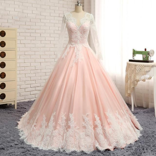 2018 New V Neck Applique Blush Cheap Long Evening Prom Dresses ...