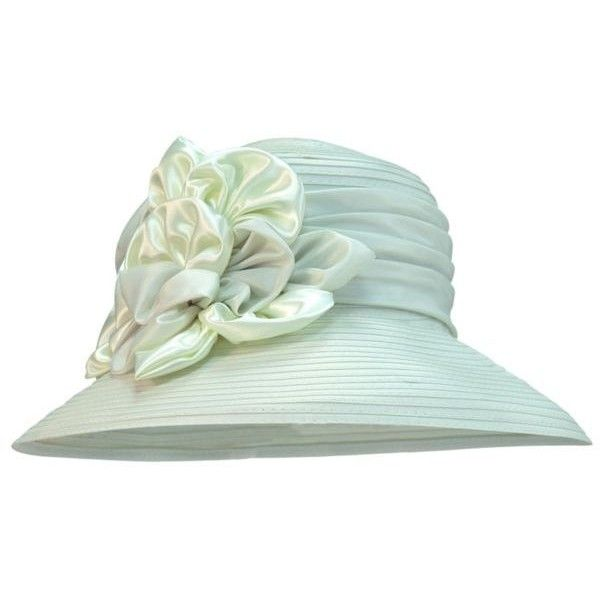 Giovannio Ivory Schoolgirl Satin Rosette Hat ( 41) ❤ liked on Polyvore  featuring accessories b80fd487beee