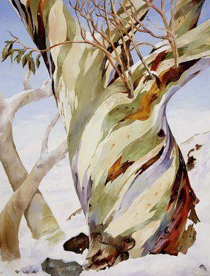 Gum Trees In The Snow Australiana In 2019 Tree Art