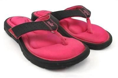 18fb20f356b7 NIKE Women s Thong Sandals Comfort Footbed Black Pink Flip Flops Slip On  Size 6
